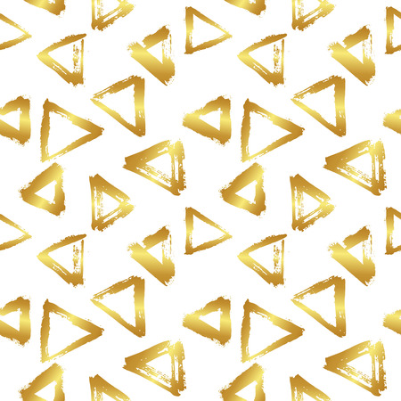 wawe: Vector seamless pattern with brush triangles in gold gradient color on white background. Illustration