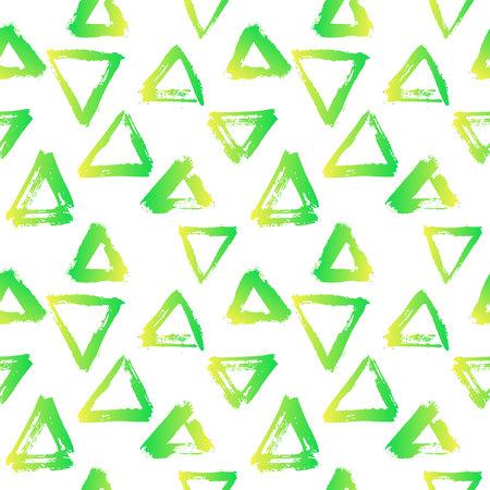 ブラシでシームレスなパターンをベクトルの三角形の黄色の白い背景の上の緑のグラデーション カラー。手描きのグランジ テクスチャ。インクの幾