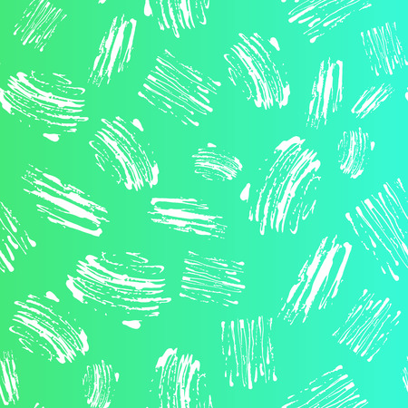 Vector kid seamless pattern with brush strokes and dots. White color on green blue gradient background. Hand painted grange texture. Ink geometric elements. Fashion modern style. Unusual doodle