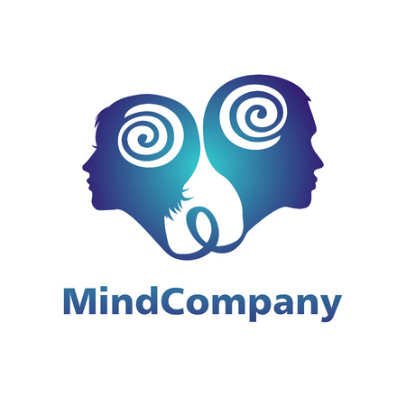 Modern head logo of Psychology. Profile Human. Man and woman. Logotype in vector. Design concept. Brand company. Blue color isolated on white background. Symbol for web, print, card, flyer. Hypnosis