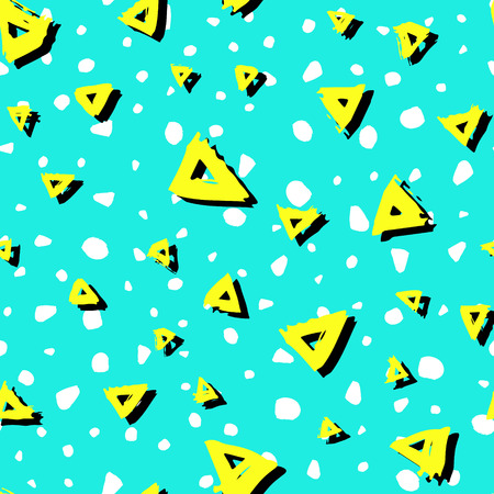Vector seamless pattern with brush triangles Yellow white black color on blue background. Hand painted grange texture. Ink geometric elements. Fashion modern style. Endless fabric print.