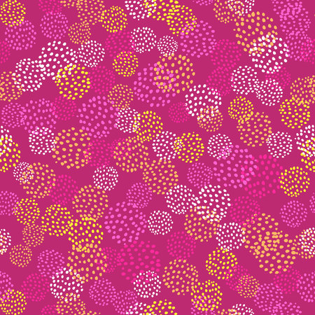 Vector seamless pattern with brush blots .Yellow white orange color on pink background. Hand painted grange texture. Ink elements. Fashion modern style. Endless fabric print. Look like flowers Illustration