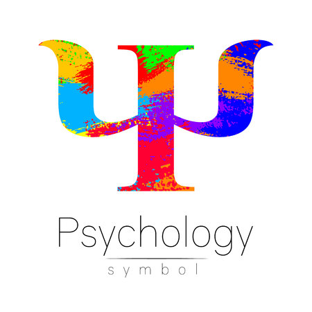 Modern Sign of Psychology. Psi. Creative style. Icon in vector. Design concept. Brand company. Rainbow brush strokes color letter on white background. Symbol for web, print, card, flyer. Illustration