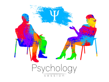 心理学者とクライアント。  イラスト・ベクター素材