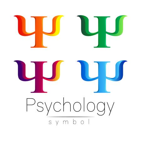 Modern Sign Set of Psychology. Psi. Creative style. Icon in vector. Design concept. Brand company. Orange blue violet green color letter on white background. Symbol for web, print, card, flyer.
