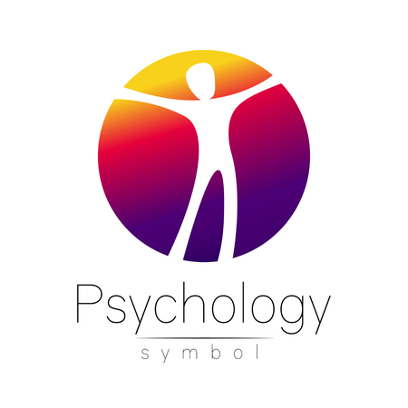 psychiatrist: Modern man Sign of Psychology. Human in a circle. Creative style. Icon in vector. Design concept. Brand company. Violet color isolated on white background. Symbol for web, print, card, flyer.