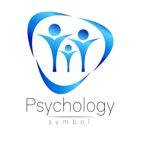 Modern people psi Sign of Psychology. Family Human. Creative style. Icon in vector. Design concept. Brand company. blue color isolated on white background. Symbol for web, print, card