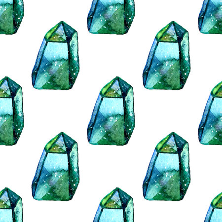 Vector Watercolor illustration of diamond crystals - seamless pattern. Stone jewel background. Can be used for textile design, wallpaper. Brush drawing elements. Gemstones texture.