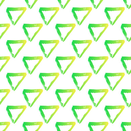 Vector seamless pattern with brush triangles Yellow green gradient color on white background. Hand painted grange texture. Ink geometric elements. Fashion modern style. Endless fabric print.