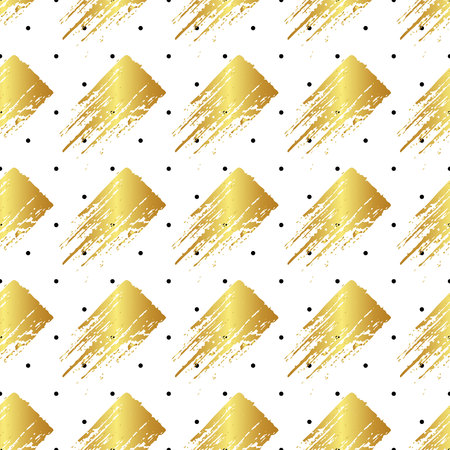 Vector colorful seamless pattern with brush strokes and dots. Gold gradient color on white background. Hand painted grange texture. Ink geometric elements. Fashion modern style. Unusual