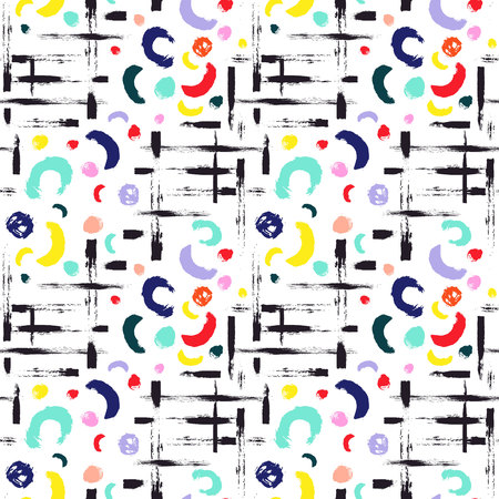 wawe: Vector colorful seamless pattern with brush dots, strokes, circles and strokes. Rainbow color on white background. Hand painted grange texture. Ink geometric elements. School modern style. Summer.