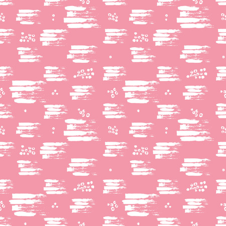 wawe: Vector colorful seamless pattern with brush strokes and strokes. White color on pink background. Hand painted grange texture. Ink geometric elements. Fashion modern style. Unusual girly school summer. Illustration