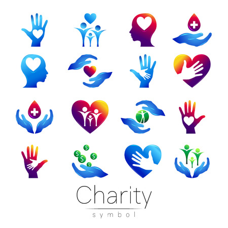 Vector illustration. SET Symbol of Charity. Sign hand isolated on white background.Blue Icon company, web, card, print. Modern bright element. orphans Help kids campaign. Family children Illustration