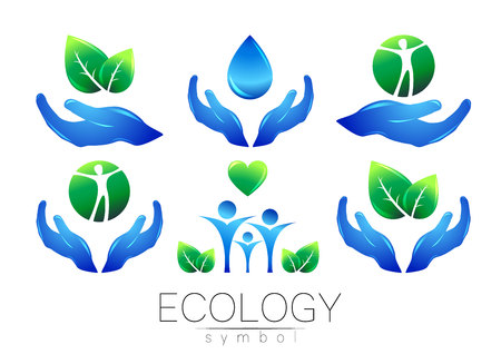 Natural logo vector design set. Hands leaves water and peple on white background. Green and blue colors. Sign for concept. Elements for banner. Symbol of eco life. Can be used for logotype