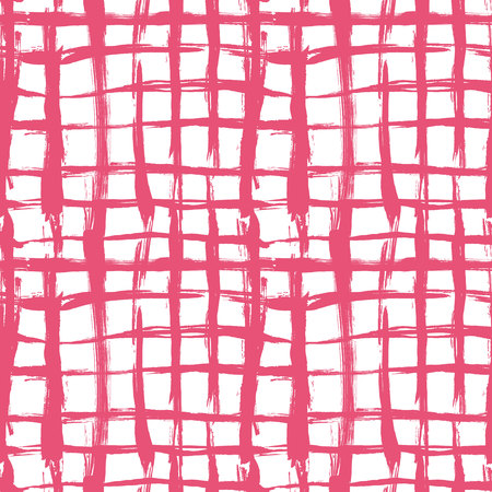 repetition: Vector seamless pattern with brush cross and strokes. Pink color on white background. Hand painted grange texture. Ink geometric elements. Fashion modern style. Endless fabric print. School and summer Illustration