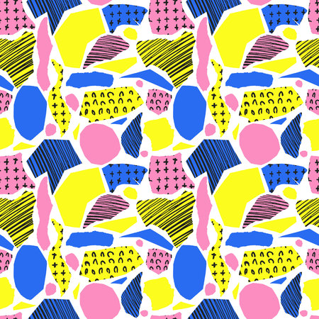 wawe: Vector colorful seamless pattern with brush strokes and cross. Pink blue yellow black color on white background. Hand painted grange texture. Ink geometric elements. Fashion school modern style
