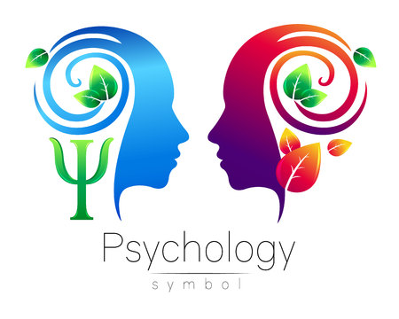 La tête moderne Logo du signe de la psychologie. Profil humain. Feuilles vertes. Lettre Psi. Symbole en vecteur. Concept design. Société de marque. Couleur bleue isolée sur fond blanc. Icône pour web, logotype. Logo