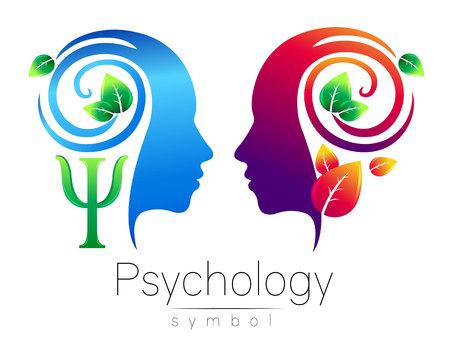 Moderner Kopf Logo Zeichen der Psychologie. Profil Mensch. Grüne Blätter. Buchstabe Psi. Symbol im Vektor. Design Konzept. Markenfirma. Blaue Farbe isoliert auf weißem Hintergrund. Icon für Web, Logotype. Logo