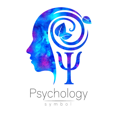 Modern head Logo sign of Psychology. Profile Human. Green Leaves. Letter Psi . Symbol in . Design concept. Brand company. Blue color isolated on white background. Icon for web, logotype.