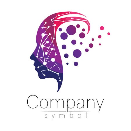 Vector symbol of human head. Profile face. Violet pink color isolated on white background. Concept sign for business, science, psychology, medicine. Creative sign design Man silhouette. Modern logo