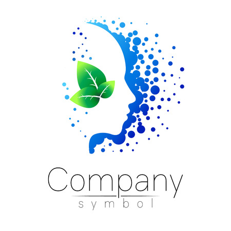 Vector symbol of human head and leaf. Profile face. Blue green color isolated on white background. Concept sign for business, science, psychology, medicine. Creative sign design Man silhouette. logo