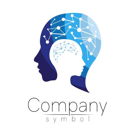 Vector símbolo de la cabeza humana. Cara del perfil Color azul aislado en el fondo blanco. Muestra del concepto para el negocio, la ciencia, la psicología, la medicina. Diseño de signo creativo Silueta de hombre. Logotipo moderno