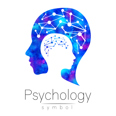 Modern head sign of Psychology. Profile Human. Logotype. Creative style. Symbol in . Design concept. Brand company. Blue watercolor color isolated on white background. Icon for web, print