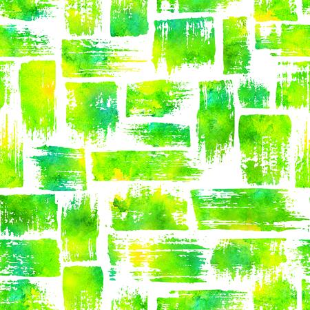 縞模様のブラシ ストロークとのシームレスなパターン。白い背景の上の黄色の緑水彩色。手描きのグランジ テクスチャ。インクの幾何学的な要素。