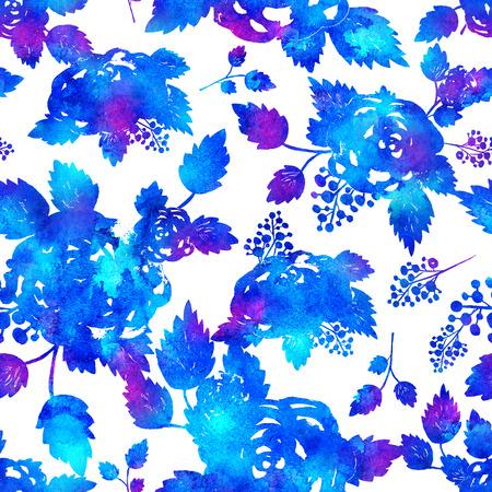 브러쉬 꽃과 잎 원활한 패턴입니다. 흰색 배경에 파란색 수채화 물감입니다. 손으로 그레인 텍스처를 그렸습니다. 잉크 포리스트 요소입니다. 패션 현