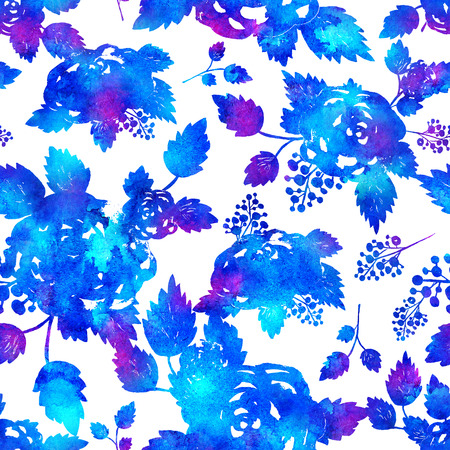 seamless pattern with brush flowers and leaf. Blue watercolor color on white background. Hand painted grange texture. Ink forest elements. Fashion modern style. Endless fabric print. Rose art