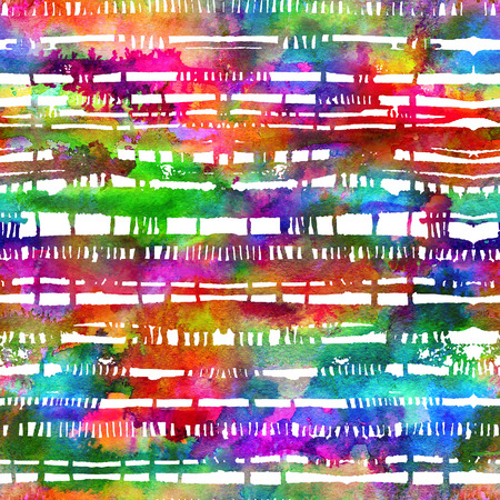 brushed: seamless pattern with brush stripes and strokes. Rainbow watercolor color on white background. Hand painted grange texture. Ink geometric elements. Fashion modern style. Endless fabric print. Teen art