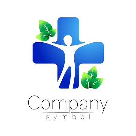 의료 파란색 십자가 녹색 잎 - 벡터 로고 템플릿 개념 일러스트 레이 션. 의학 기호입니다. 건강 한 기호입니다. 의료 자연 휘장 아이콘입니다. 디자인