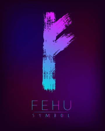 germanic: Rune Scandinavia is a fehu riches vector illustration. Symbol of Futhark letters. Brush stripes with trend gradient blue pink color on blur dark background. Magic and mystery sign. Spiritual esoteric.