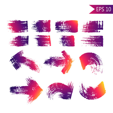 Set of grange abstract textured arrows and strokes vector illustration.