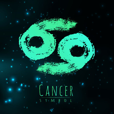 Zodiac sign Cancer on a dark cosmic background of the space with shining stars. Illustration