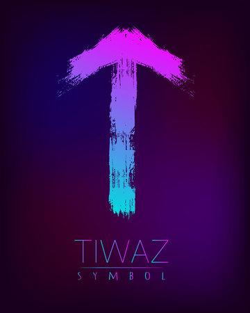 Rune Scandinavia es una ilustración vectorial de Tiwaz riches riches. Símbolo de las letras Futhark. Cepille las rayas con el color rosado azul de la pendiente de la tendencia en el fondo oscuro de la falta de definición. Signo de magia y misterio. Espiritual Foto de archivo - 88967408
