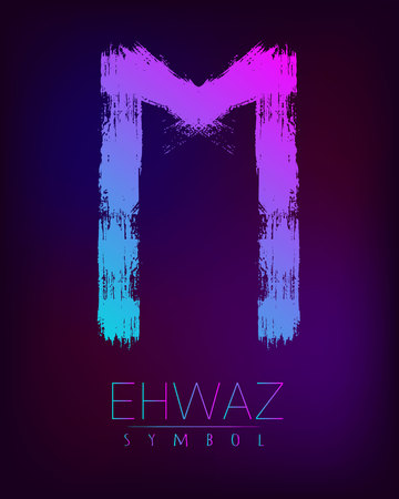 Rune Scandinavia is a Ehwaz riches vector illustration. Symbol of Futhark letters. Brush stripes with trend gradient blue pink color on blur dark background. Magic and mystery sign. Spiritual Illustration