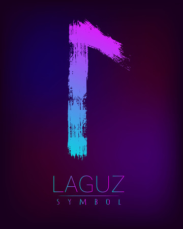 germanic: Rune Scandinavia is a Laguz riches vector illustration. Symbol of Futhark letters. Brush stripes with trend gradient blue pink color on blur dark background. Magic and mystery sign. Spiritual Illustration