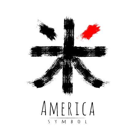 Hieroglyph symbol word for America. Illustration