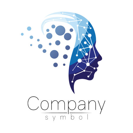 Vector symbol of human head. Profile face. Blue color isolated on white background. Concept sign for business, science, psychology, medicine. Creative sign design Man silhouette. Stock Illustratie