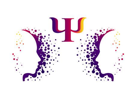 Testa moderna Logo segno di psicologia. Profilo umano. Lettera Psi. Stile creativo Simbolo nel vettore. Idea di design. Azienda di marca. Colore viola isolato su sfondo bianco. Icona per il web, logotipo.