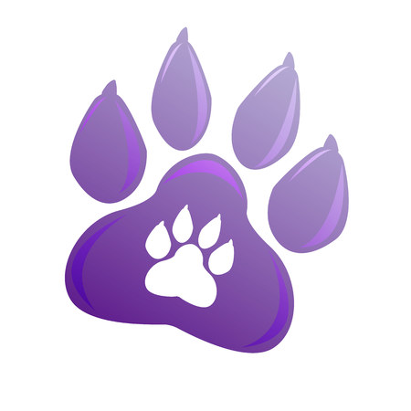 Symbol of pet paw. Animal sign for company, shop, web, medicine, veterinarian clinic. Vector emblem dog foot. Vioet gradient logo. Bright modern logotype. Isolated on white background. New year 2018