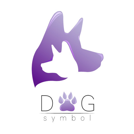Dog logo vector. Violet trend gradient. silhouette pet. Paw symbol. Label for web, clinic, shop, medical, care, logotype. Creative company concept. Identity style. 2018 New year of Dog. Illustration
