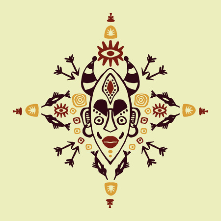 Hand drawn vector pattern with Tribal mask ethnic. Sketch for your design, wallpaper, textile, print. African culture. Fabric Afro ornament. Colorful batik art. Brown colors on background.