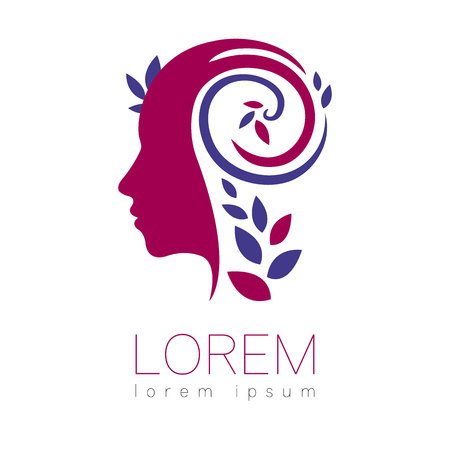Modern vector Human silhouette logotype isolated on white background. Violet and blue colors. Man head and leaves. Health symbol. Concept design for web, clinic, school, education. Creative icon.