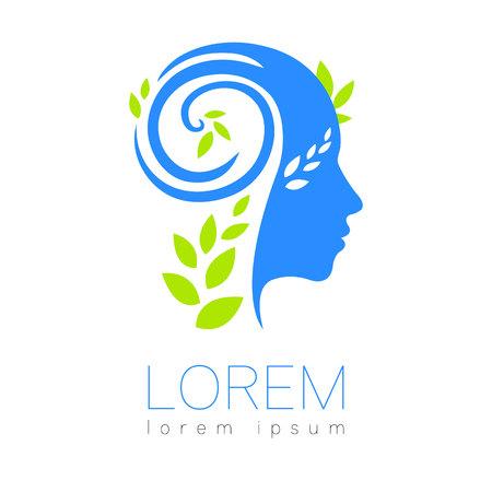 Logotipo humano moderno de la silueta del vector aislado en el fondo blanco. Colores verde y azul. Cabeza de hombre y hojas. Símbolo de la salud Diseño conceptual para web, clínica, escolar, educación. Icono creativo