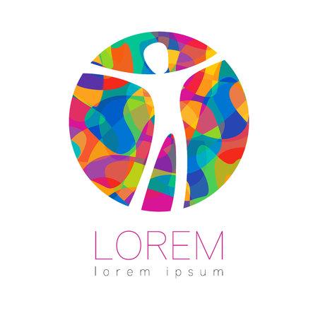 Moderne vector menselijk silhouet in cirkel logo geïsoleerd op een witte achtergrond. Regenboog heldere kleuren. Man gelukkig binnen. Gezondheid symbool. Conceptontwerp voor web, kliniek, school, onderwijs. Creatief.