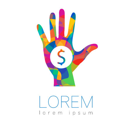 Donation sign icon. Donate money hand. Charity or endowment symbol. Human helping. on white background. Vector.Rainbow bright color