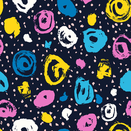 Vector seamless pattern. Abstract background with brush circles. Fabric hand drawn texture. Blue, pink, yellow color. Grange paint blot and dot. Stripe, stroke for school and teen, kid design
