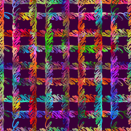 seamless pattern with brush stripes and strokes. Rainbow watercolor on violet background. Hand painted grange texture. Plaid cross geometric elements. Fashion modern style. Repeat fabric print.